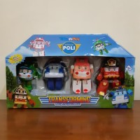 Mainan Set Robocar Poli 4 In 1 - Robot Mobil Transformers Anak Edukasi
