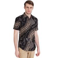 Rianty Batik Hem Kemeja Batik Pria Slimfit Lengan Pendek Leander