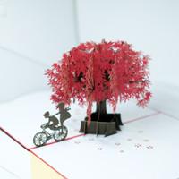 KARTU 3D UNIK SAKURA ROMANTIS LOVE GREETING CARD KARTU UCAPAN MURAH