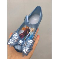 sepatu fashion anak jelly flatshoes pita biru frozen2