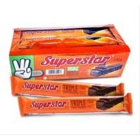 Wafer Superstar Super Man Lapis Coklat 1Dus Isi 12pcs Cruncy PROMO