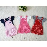 Baju Bayi Perempuan Setelan Overall Jumpsuit Bayi Newborn Bear Polka