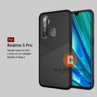 Case Realme 5 Pro ( 6.3 inch ) Casing Slim Business Leather Pattern