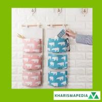 Pouch Storage Bag Box Hanging Organizer Gantung 3 Sekat