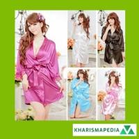 Piyama Satin Dewasa Baju Tidur Set Kimono + Celana Dalam G-String
