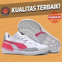Sepatu Basket Sneakers Puma Clyde Hardwood Pink Glow White Pria Wanita