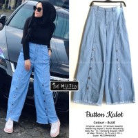 celana kulot jeans wanita muslim murah real pict - button kulot