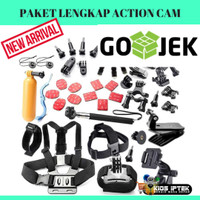 Aksesoris Perlengkapan Action Camera Go Pro / Yi Cam Full Set