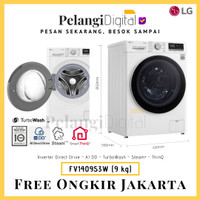 LG Mesin Cuci Front Loading Inverter Steam WiFi ThinQ 9 KG - FV1409S3W