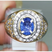 Cincin Batu Blue Safir Ceylon Srilanka Asli Natural (Kode 801)