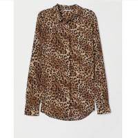Kemeja HnM Long Sleeved Blouse Brown Leopard Print Women 100% Original