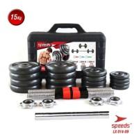 Dumbell Barbel Set Max 15kg BLACK Speeds 014-9 +Box +connector tiang