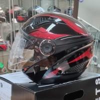 Helm Zeus ZS610 O14 BLACK/RED Double Visor