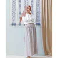 Korean Stripe Skirt Set With White Blouse