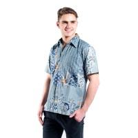 Hem Batik Pria Lengan Pendek Katun Premium Rianty Pola Leaf