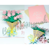 KARTU UCAPAN ULANG TAHUN / BIRTHDAY CARD POP UP 3D BENTUK BOUQUET ROSE