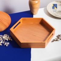 Natural Hexagon Wooden Tray / Tatakan Kayu / Nampan Kayu