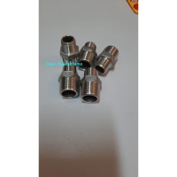 """Double Naple Reducer Stainless 1/2"""" x 3/8"""" inch / V Sok Nepel SS304"""