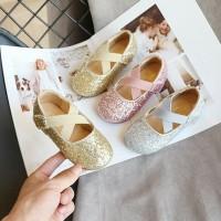 PERINNA glitter shoes sepatu pesta flat shoes anak perempuan import