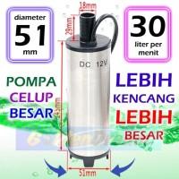 BESAR 51mm Pompa Celup 12v Submersible Pump Air Solar Diesel 30 liter