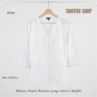 Blouse Pearl Button Long sleeve Ruffle Katun 100% White & Blue TALBOTS