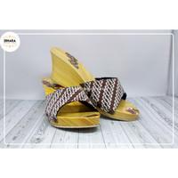 sandal kayu batik wanita DINARA wedges batik lawasan premium (A801)