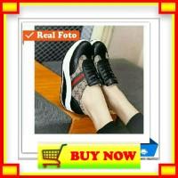 YP835 GC- Sepatu wedges sneakers tali wanita casual trendy motif guci
