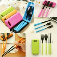 Set Alat Makan sendok sumpit garpu ~ Paket peralatan makan ANAK green