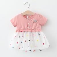 Baju Bayi + Setelan Bayi + Jenstor + Dress Bayi Pink Polkadot - XL