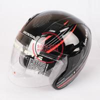 Honda ORI Honeycomb SNI Half Face Helm Helmet - BLACK RED GLOSSY