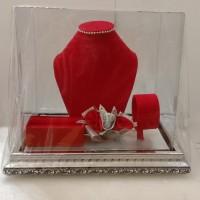 Kotak Perhiasan Seserahan Lamaran variasi Red Silver - Merah