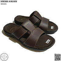 STEXEL GALAXY Brown Sandal Casual Pria Double Strap Middle Bar Premium