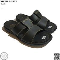 STEXEL GALAXY Black Sandal Casual Pria Double Strap Middle Bar Premium