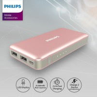 PHILIPS Power Bank DLP 6080 Fast Charging 2.4A 8.000 mAh - Rose Gold