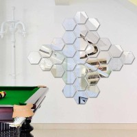 Stiker Wallpaper Dekorasi Design vinyl Cermin Mirror hexagonal isi 7