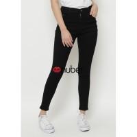 Celana Panjang Jeans Highwaist Wanita Black Nuber Stretch -Tulip