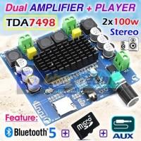 Dual TDA7498 Amplifier Player 2x100w Bluetooth Micro SD Aux Mp3 Audio