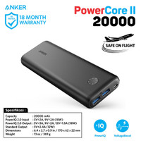PowerBank Anker PowerCore II 20000 mAh Quick Charge 3.0 Black - A1260