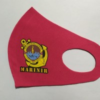 Masker Korea Bahan Kain Scuba Ungu Marinir TNI AL Logo