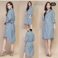 midi dress tunik dress garis dress wanita korea blue