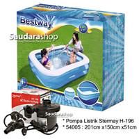 Bestway 54005 Kolam Renang Anak [201 x150 x51cm] + Pompa listrik 58090