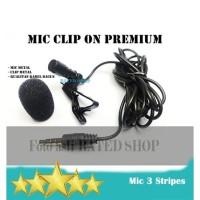 Mic Clip On 3 Garis PREMIUM - Clip On Mic Eksternal Hp Jack 3.5mm