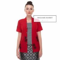 Baju Kerja Katun Merah Madame Rabbit Kebaya Kutu Baru Lurik Adem