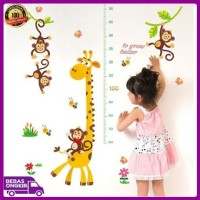 WALL STICKER PENGUKUR TINGGI BADAN JERAPAH MONKEY ANAK GROW UP STIKER