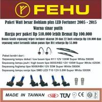 Paket bohlam watt besar Fehu plus LED untuk Fortuner warna sinar putih