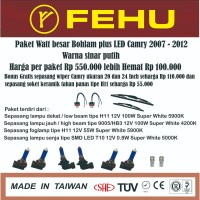 Paket watt besar bohlam plus LED camry 2007 - 2012 warna sinar putih