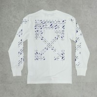 Off White SS20 Airport Tape Long Sleeve Tee White