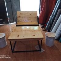 satu set bangku drum dudukan dan senderan kayu