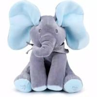 Boneka gajah peek a boo singing elephant/boneka gajah cilukba
