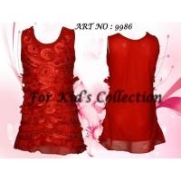 Dress anak merah tille manik manik